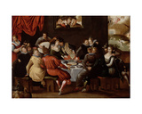 Elegant Figures Feasting and Disporting at a Table with the Last Judgement in the Background Giclee Print by Hieronymus II Francken