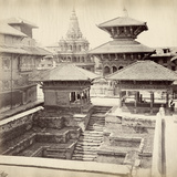 View of the Krishna Mandir and the Jagannarayan Temple, Durbar Square, Nepal, 1862-65 Photographic Print by Clarence Comyn Taylor