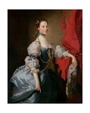 Portrait of a Lady in a Blue Gown Giclee Print by Thomas Hudson