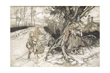 Children Startled by a Witch Gicleetryck av Arthur Rackham