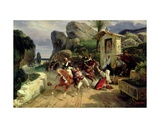 Italian Brigands Surprised by Papal Troops, 1831 Giclee Print by Horace Vernet