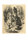 Alice and the Red Queen, Illustration from 'Through the Looking Glass' by Lewis Carroll (1832-98)… Giclee Print by John Tenniel