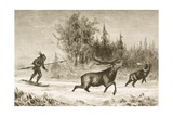 A Native American Moose Hunting in the North Western Territory, C.1880 Giclee Print by Reverend Samuel Manning