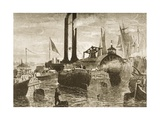 A Grain Fleet in New York Harbour in the 1870s, C.1880 Giclee Print by Reverend Samuel Manning