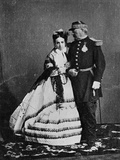 General Achille Bazaine (1811-88) and His Wife, Josepha Pena, Summer 1865 Photographic Print by Francois Aubert