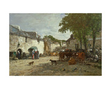 Animal Market at Daoulas, 1869 Giclee Print by Eugène Boudin