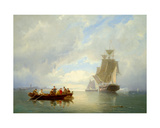 A Ship Becalmed and a Rowing Boat Giclee Print by Pieter Christiaan Cornelis Dommelshuizen
