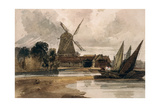 A Smock Mill on the Thames Giclee Print by Peter De Wint