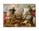 Rubens His Second Wife and Son in a Wolf and Foxhunt, after an Original by Rubens Giclee Print by Peter Paul Rubens