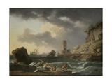 Rocky Coastal Landscape with Shipwreck, 1746 Giclée-Druck von Antoine Charles Horace Vernet