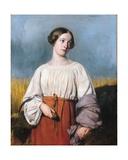 Harvester Holding Her Sickle Giclee Print by Alexandre-Jean-Baptiste Hesse
