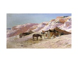 Bedouin Camp in the Dunes Giclee Print by Eugene Alexis Girardet