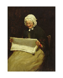 Old Woman Reading a Newspaper, 1895 Giclee Print by Paul Knight