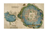 Map of Tenochtitlan and the Gulf of Mexico, from 'Praeclara Ferdinadi Cortesii De Nova Maris… Giclee Print