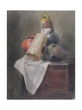 Still Life: Pots, Basket and Cloth on a Chest Giclee Print by Peter De Wint