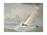 Miranda Working in from the Weilingen Light Ship in a Heavy Wind - Ostend 1880 Giclee Print by Barlow Moore