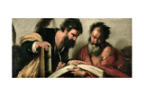 Saints John the Evangelist and Mark Discussing their Writings Lámina giclée por Bernardo Strozzi