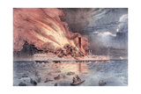 The Conflagration of the Steam Boat Lexington in Long Island Sound, 13th January 1840 Giclee Print by William Keesey Hewitt