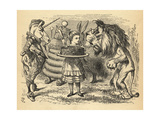The Sharing of the Cake Between the Lion and the Unicorn, Illustration from 'Through the Looking… Giclee Print by John Tenniel