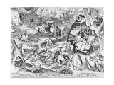Sloth, from the Seven Deadly Sins, Engraved by Pieter Ven Der Heyden, 1558 Gicléetryck av Pieter Bruegel the Elder