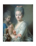 Madame Theodore Lacroix Drawing a Portrait of Her Daughter, Suzanne Felicite Giclee Print by Jean Valade