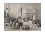 Embarkation of the Doge, Venice, Engraved by Challis Giclee Print