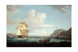 A British Frigate with a Longboat Off the Headland of Gallows Hill, Broad Bay, Isle of Lewis Giclee Print by Thomas Whitcombe