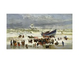 The Launch of the Life Boat Giclee Print by William Lionel Wyllie