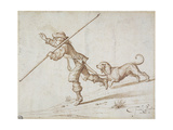 Man Hunting with a Pointed Staff and a Hound Giclee Print by Francis Barlow