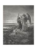 Jacob Wrestling with the Angel, Genesis 32:24-32, Illustration from Dore's 'The Holy Bible',… Giclee Print by Gustave Doré