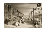 Carding, Drawing and Roving, Cotton Factory Floor, Engraved by James Tingle (Fl.1830-60) C.1830 Giclee Print by Thomas Allom