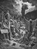 The Vision of the Valley of Dry Bones, Ezekiel 37:1-2, Illustration from Dore's 'The Holy Bible',… Giclee Print by Gustave Doré
