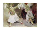 Two Greek Soldiers Dancing (Study of Soliote Dress) Giclee Print by Eugene Delacroix