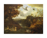 Ducks and Other Birds About a Stream in an Italianate Landscape, 1671 Giclee Print by Francis Barlow
