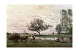 Haycart Beside a River Giclee Print by Jean-Baptiste-Camille Corot