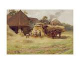 Threshing, a Scottish Farm, 1884 Giclee Print by James Whitelaw Hamilton
