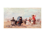 Beach Near Deauville, C.1924 Giclee Print by Eugène Boudin