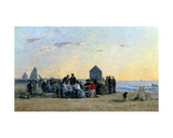 Beach Scene at Trouville - Sunset, 1867 Giclee Print by Eugène Boudin