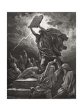 Moses Breaking the Tablets of the Law, Exodus 32:19, Illustration from Dore's 'The Holy Bible',… Giclee Print by Gustave Doré