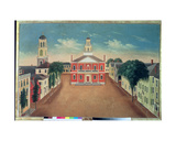 Fireboard Depicting a View of Court House Square, Salem, 1810-20 Giclee Print by George Washington Felt