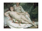 Bathers or Two Nude Women, C.1858 Giclee Print by  Gustave Courbet and Hector Hanoteau