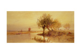On the Norfolk Broads, Evening Giclee Print by Edward Duncan