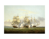 Hms Gore in Action with the French Brigs 'Palinure' and 'Pilade' Giclee Print by Thomas Luny