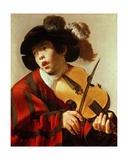 Boy Playing Stringed Instrument and Singing, C.1627 Giclee Print by Hendrick Terbrugghen