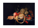 A Still Life with a Lemon, Grapes, Cherries and Apricots on a Pewter Plate Giclee Print by Cornelis De Heem