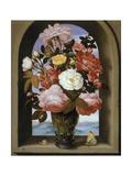 Still Life with Roses in a Berkemeijer Glass Giclee Print by Ambrosius The Elder Bosschaert