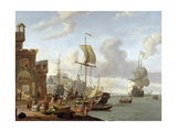 A Capriccio Mediterranean Harbour Scene, 1678 Giclee Print by Abraham Storck