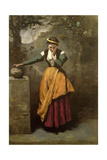 Dreamer at the Fountain, C.1860 Giclee Print by Jean-Baptiste-Camille Corot