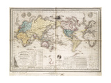 World Map Showing British Possessions and Emigration Routes, 1851 Giclee Print by Smith Evans