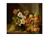 Still Life of Flowers in a Vase and Fruit in a Basket Giclee Print by Pieter Snyers